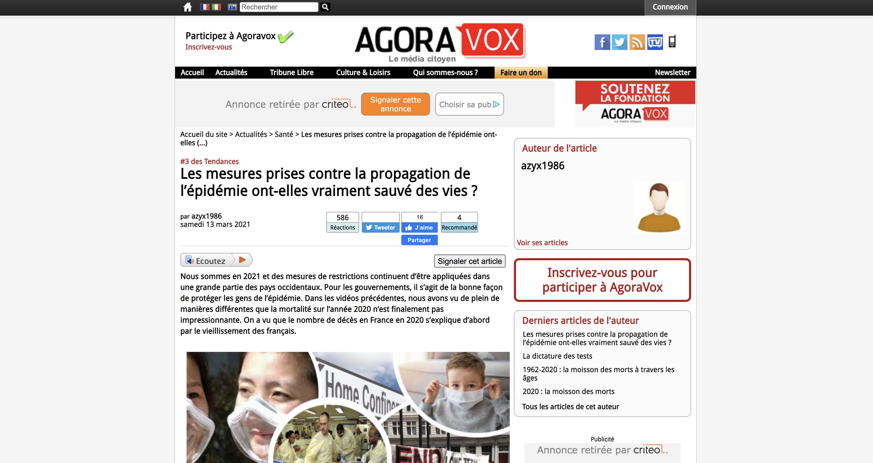 """Capture d'écran d'un article du site AgoraVox avec un article """"Les mesures prises contre la propagation de l'épidémie ont-elles vraiment sauvé des vies ?"""""""